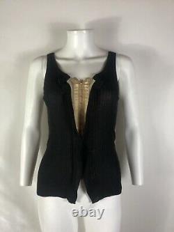 Rare Vtg Jean Paul Gaultier Black Corset Hook & Eye Tank Top M