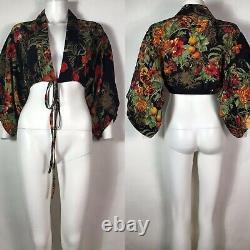 Rare Vtg Jean Paul Gaultier Black Floral Print Silk Mini Kimono Crop Top S