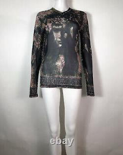 Rare Vtg Jean Paul Gaultier Black Flower Crown Print Top L
