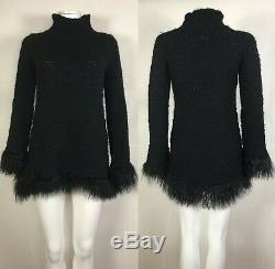 Rare Vtg Jean Paul Gaultier Black Fringe Wool Sweater S