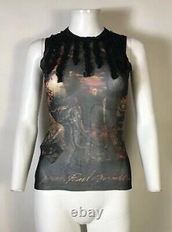 Rare Vtg Jean Paul Gaultier Black Lace Logo Print Mesh Top S