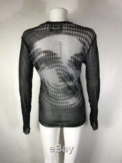 Rare Vtg Jean Paul Gaultier Black Mesh Op Art Face Top L
