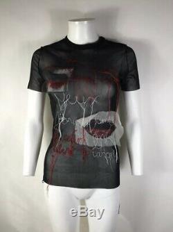 Rare Vtg Jean Paul Gaultier Black Op Art Mesh Top S