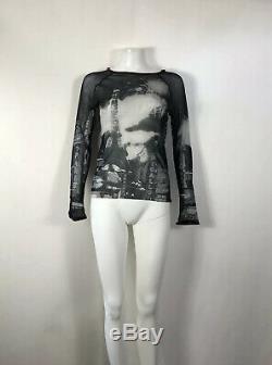 Rare Vtg Jean Paul Gaultier Black Paris Eiffel Print Mesh Velvet Trim Top M