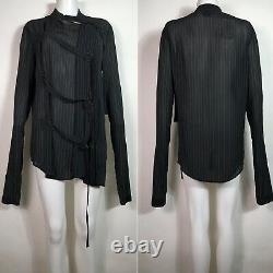 Rare Vtg Jean Paul Gaultier Black Pinstripe Bondage Belted Shirt M