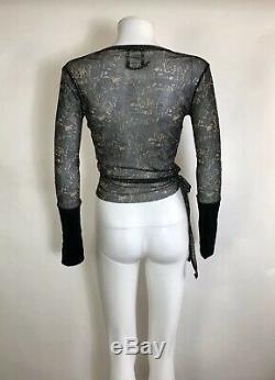 Rare Vtg Jean Paul Gaultier Black Printed Wrap Top S