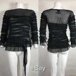 Rare Vtg Jean Paul Gaultier Black Ruffle Mesh Top S