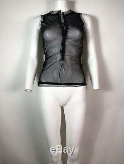 Rare Vtg Jean Paul Gaultier Black Sheer Lace Up Mesh Tank Top S