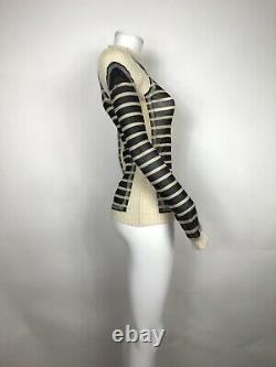 Rare Vtg Jean Paul Gaultier Black Striped Mesh Panel Top L