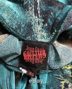 Rare Vtg Jean Paul Gaultier Blue Bird Print Sheer Mesh Top S