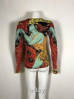 Rare Vtg Jean Paul Gaultier Blue Woman Print Top S