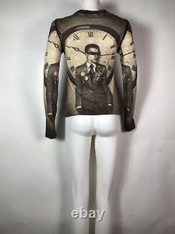 Rare Vtg Jean Paul Gaultier Brown Clock Print Top S