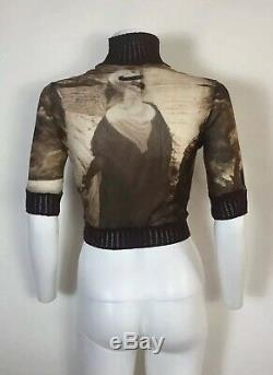 Rare Vtg Jean Paul Gaultier Brown Desert Nomad Print Mesh Crop Top L