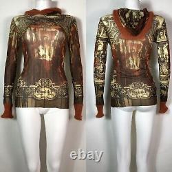 Rare Vtg Jean Paul Gaultier Brown Printed Mesh Hood Top S