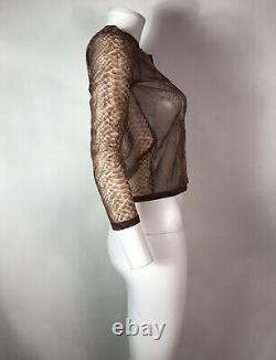 Rare Vtg Jean Paul Gaultier Brown Snake Print Sheer Mesh Top S