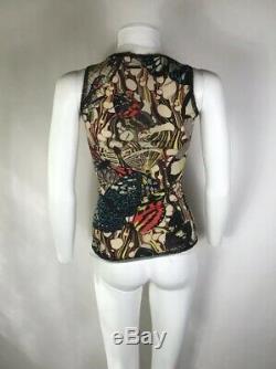 Rare Vtg Jean Paul Gaultier Butterfly Print Mesh Top S