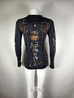 Rare Vtg Jean Paul Gaultier Cathedral Print Stretch Top S