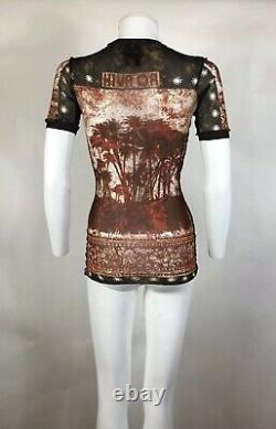 Rare Vtg Jean Paul Gaultier Classique Palm Tree Print Mesh Top M