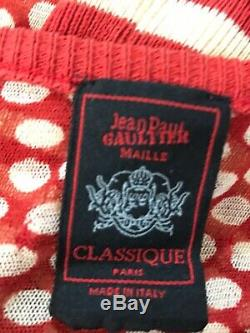 Rare Vtg Jean Paul Gaultier Classique Red Dot Stripe Mesh Top M