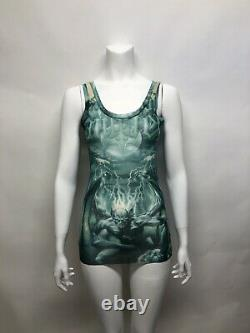 Rare Vtg Jean Paul Gaultier Demon Gargoyole Print Green Sheer Mesh Tank Top M