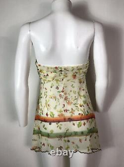 Rare Vtg Jean Paul Gaultier Ecru Floral Print Strapless Sheer Mesh Top S