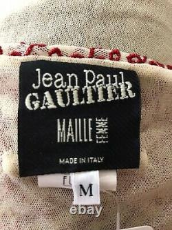 Rare Vtg Jean Paul Gaultier Ecru Red Eyelet Cape Sheer Mesh Top M