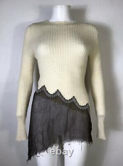 Rare Vtg Jean Paul Gaultier Ecru Sheer Knit Top S