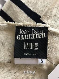 Rare Vtg Jean Paul Gaultier Ecru Stripe Tank Top S