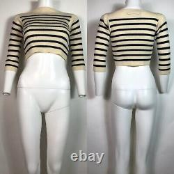 Rare Vtg Jean Paul Gaultier Ecru Striped Crop Top M