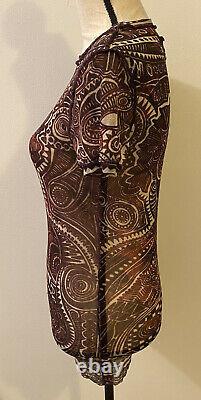 Rare Vtg Jean Paul Gaultier Fuzzi Maille Light & Dark Print Sheer Mesh Top M Euc