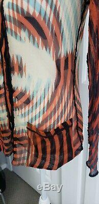 Rare Vtg Jean Paul Gaultier Fuzzi Op Art Face cardigan mesh Top L