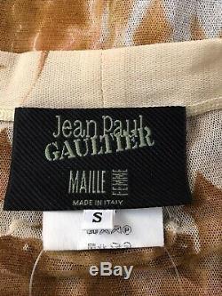 Rare Vtg Jean Paul Gaultier Gargoyle Demon Print Mesh Button Top S