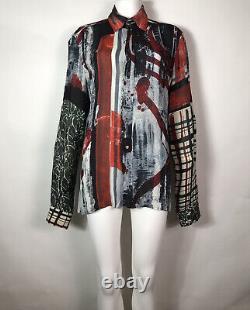 Rare Vtg Jean Paul Gaultier Gray Abstract Print Shirt L