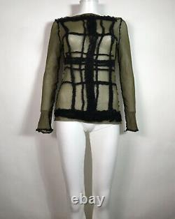 Rare Vtg Jean Paul Gaultier Green Black Grid Sheer Mesh Top L