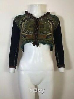 Rare Vtg Jean Paul Gaultier Green Crop Print Knit Top S