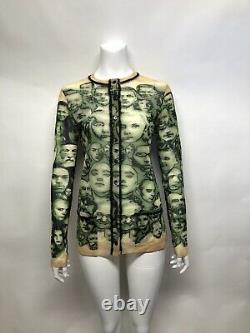 Rare Vtg Jean Paul Gaultier Green Faces Print Mesh Button Top M
