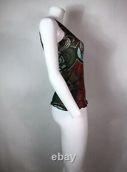 Rare Vtg Jean Paul Gaultier Green & Red Print Mesh Tank Top S