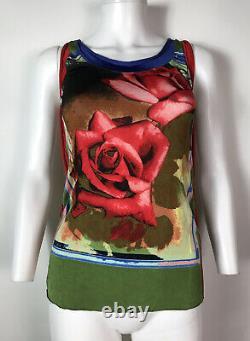 Rare Vtg Jean Paul Gaultier Green Rose Print Sleeveless Top M