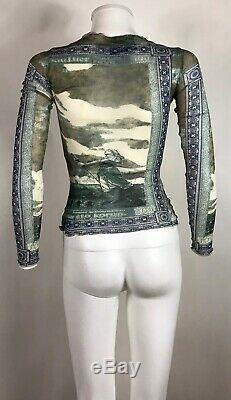 Rare Vtg Jean Paul Gaultier Green Statue Print Sheer Mesh Top M