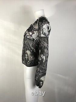 Rare Vtg Jean Paul Gaultier JPG Black Floral Face Print Top S