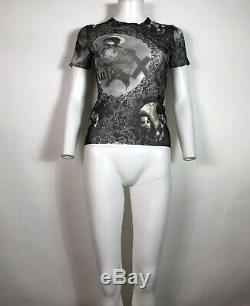 Rare Vtg Jean Paul Gaultier JPG Black'La Mujer' Print Mesh Top S