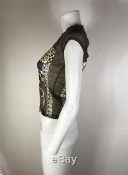 Rare Vtg Jean Paul Gaultier JPG Globe Print Mesh Top S