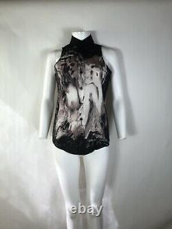 Rare Vtg Jean Paul Gaultier JPG Nude Print Black Top S