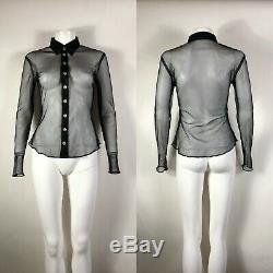 Rare Vtg Jean Paul Gaultier Jean's Black Mesh Shirt S