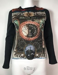 Rare Vtg Jean Paul Gaultier Jean's Black Steampunk Compass Print Top S