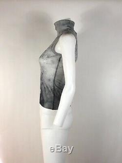 Rare Vtg Jean Paul Gaultier Jean's Gray Floral Print Mesh Top S