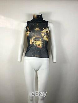Rare Vtg Jean Paul Gaultier Jean's Motorcycle Print Mesh Top S