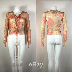 Rare Vtg Jean Paul Gaultier Jean's Orange Printed Mesh Top S