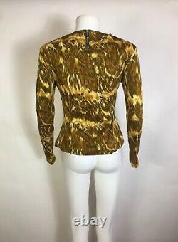 Rare Vtg Jean Paul Gaultier Junior Brown Yellow Print Top S