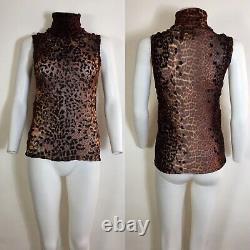 Rare Vtg Jean Paul Gaultier Leopard Velvet Spot Sleeveless Sheer Mesh Top XL